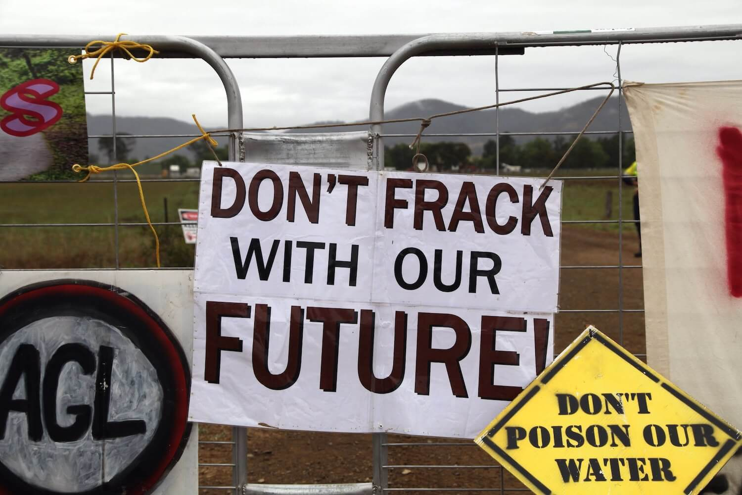 Fracking protest banners
