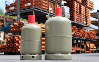 LPG bottles and natural gas pipes