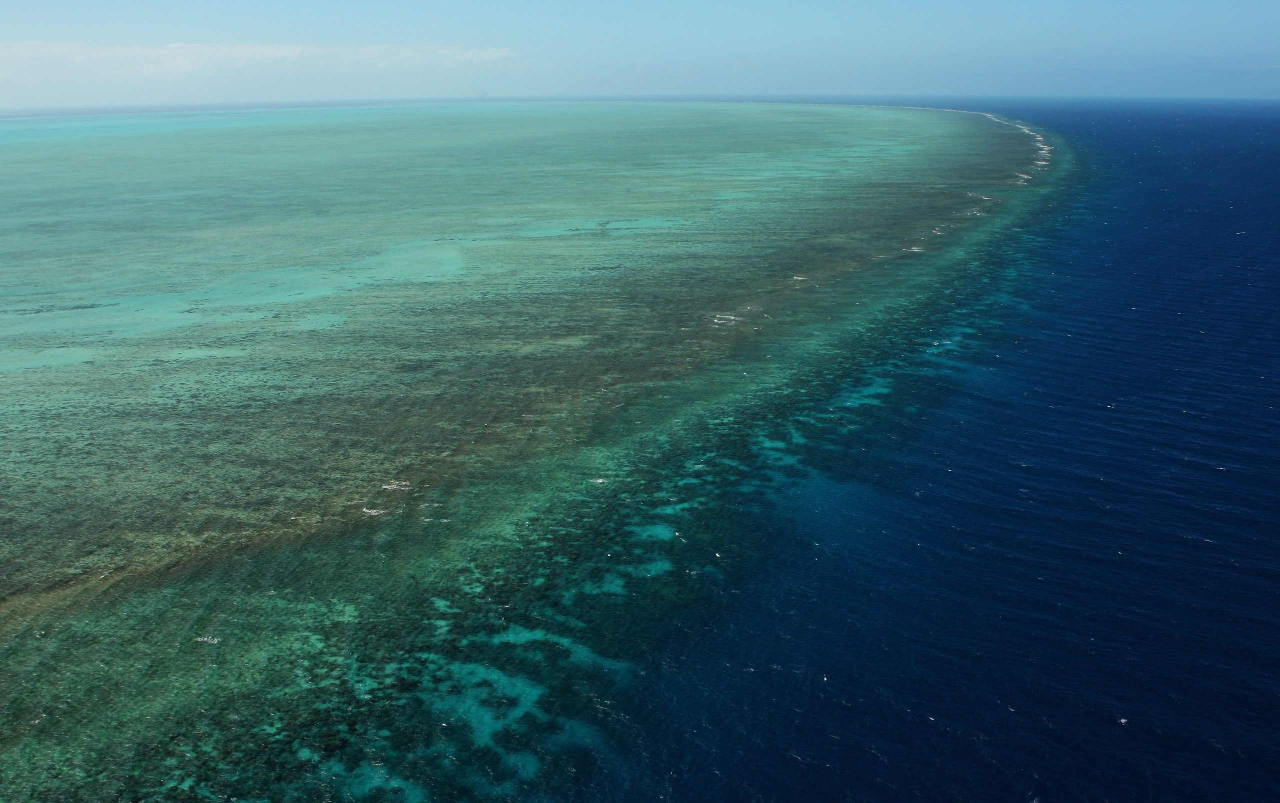 Aerial view of the Great Barrier Reef showing bleaching